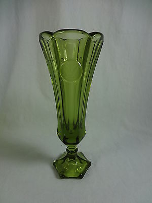 Fostoria Coin Glass Olive Green Bud Vase MINT 8""