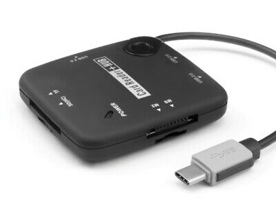 Type C To 3 Port USB 2.0 Hub + TF Micro SD SDHC MS M2 Card Reader + Power Cable