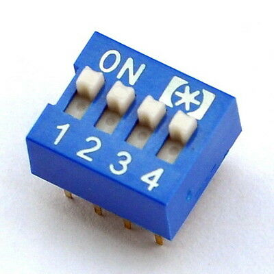 10x  4 Way DIP Switch, 4 Position 8 pin PCB Mountable