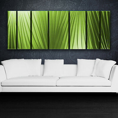 Modern Abstract Metal Wall Art Green Painting Sculpture Home Decor In / Outdoor
