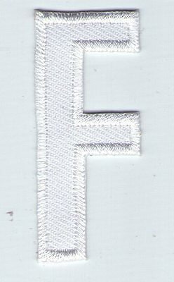 Ecusson Patche  Thermocollant Patch Lettre Blanche Blanc F Hauteur 5 Cm