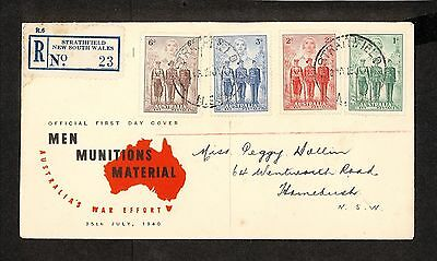 FDC 1940   AIF SET OF 4 FDC ADDRESSED Strathfield REGISTERED (3617.84)