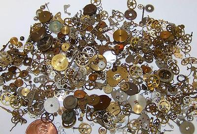 10g Lot Old Steampunk Watch Parts Many Pieces Vintage Antique Gears Cogs Wheels