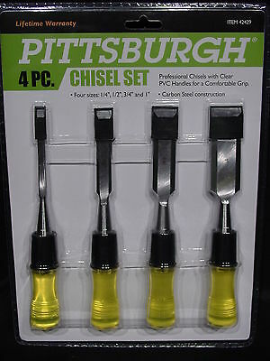 Wood Working Chisels Woodworking Hand Tools Tool  4-PC Piece SET 1/4 1/2 3/4 1""