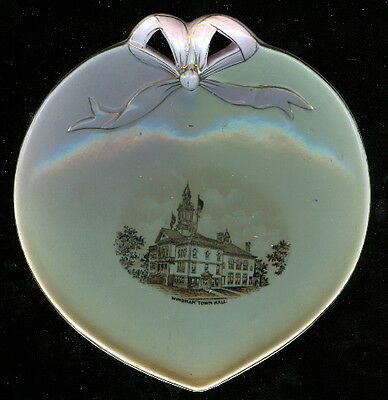 Windham New Hampshire Pottery Keene NH Souvenir China Heart Dish Town Hall