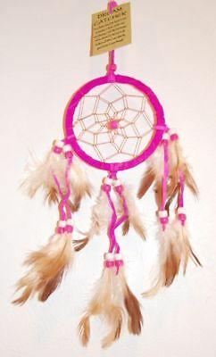 HANDMADE 9CM NATIVE DREAMCATCHER IN HOT PINK SUEDE HELP BAD DREAMS / dcle09pin