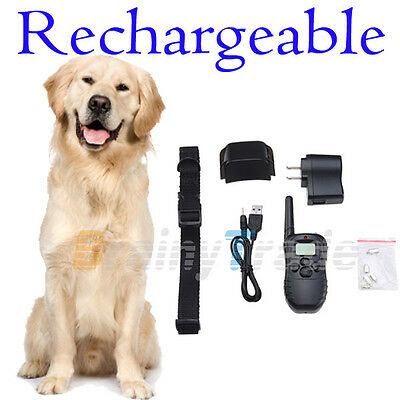 Rechargeable 100LV Level LCD SHOCK VIBRA REMOTE PET DOG PUPPY TRAINING COLLAR