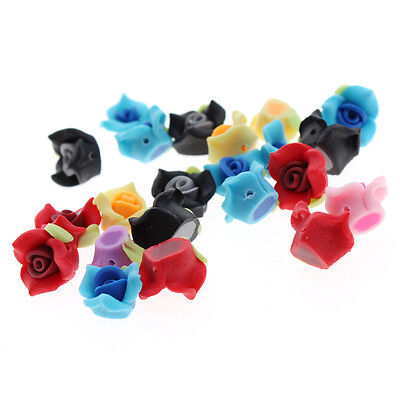 50x 111061 New Mixed Rose Flower Polymer Clay Bead 12mm