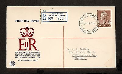 FDC 1957   1/7 BROWN QUEEN ELIZ I I First Day Cover REGISTERED (3949.100)