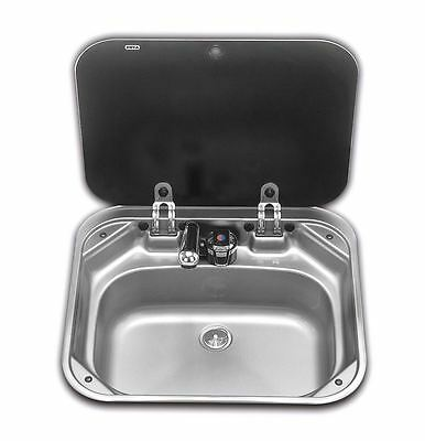 Smev - Va8006 Sink With Glass Lid 4 Caravan Motorhome And Boats