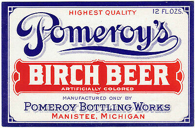 Old soda pop bottle label POMEROYS BIRCH BEER Manistee Michigan new old stock