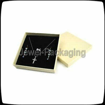 4 pcs Cream Jewelry Necklace Earring Ring Boxes 19x19x4cm 7.5 x 7.5 x 1.6 (inch)