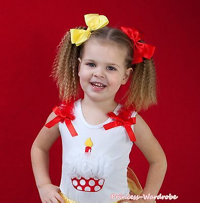 White Pettitop Top Red Minnie Cupcake in Optional acc. For Girl Pettiskirt NB-8Y