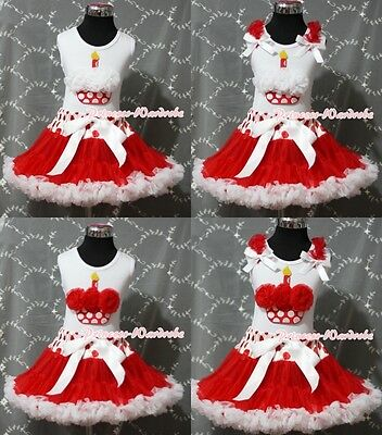 Red White Dot Waist Pettiskirt White Pettitop & Red Minnie Cupcake Girl Set 1-8Y
