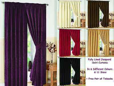Pair - Pencil Pleat - Fully Lined Jacquard Swirl Curtains + Tie Backs