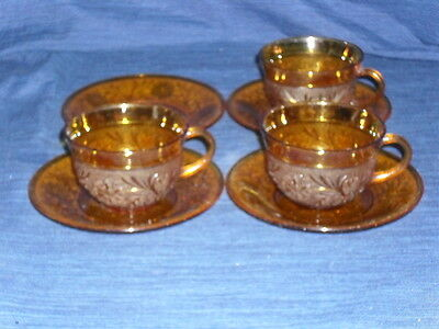 Vintage set of 7 pieces AMBER GLASS TEA CUPS & SAUCERS