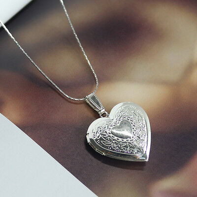 """Heart Silver Plated Charm Pendant Necklace Locket 1.1"""" HOT"""