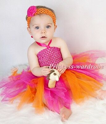 XMAS Baby HANDMADE Pink Orange Knotted Tulle Tutu Hot Pink Crochet Top NB-24M