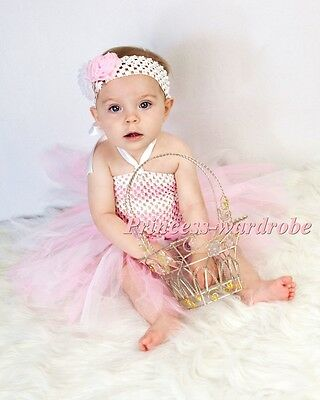 Baby HANDMADE Pink White Knotted Tulle Tutu Pink White Crochet Tube Top NB-24M