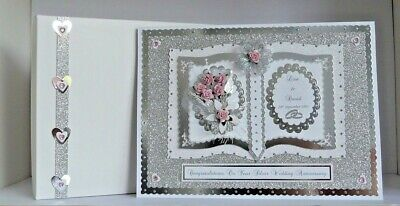 Personalised Silver 25th Wedding Anniversary Card Boxed Wife/Husband/Mum & Dad