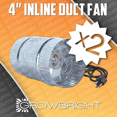 "2 pc 4"" INLINE DUCT FAN EXAUST BOOSTER BLOWER case inch grow light cool air four"