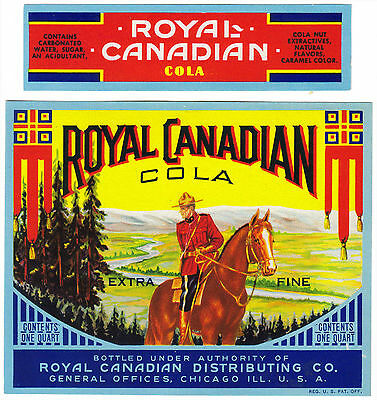 Old soda pop bottle label ROYAL CANADIAN COLA mountie pictured Chicago n-mint+