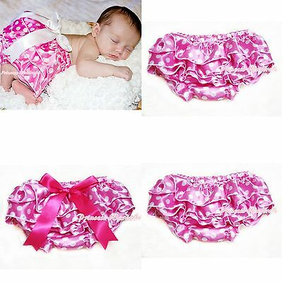 Hot Pink White Polka Dots Bloomers Pantie with Various Bows For Pettiskirt 6m-3Y
