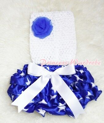 Newborn Baby Patriotic Star Bloomer with White Crochet Tube Top 2PC Set NB-2Y