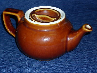 """Vintage small 3.25"""" tall BROWN HALL POTTERY TEAPOT w/Lid"""
