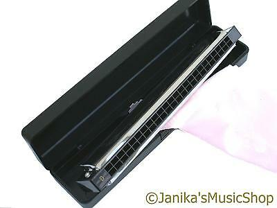 Professional Harmonica 24 Hole D Tuned Tremolo Folk Mouth Organ + Case And Cloth