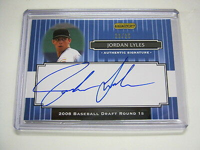 2008 Razor Signature Series Blue Jordan Lyles Auto Rookie Card SP RC #23/25 MINT