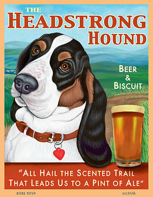 Basset Hound - Headstrong Hound -  Tri-Color - Scenic - 8x10 Art Print - Fun!!!