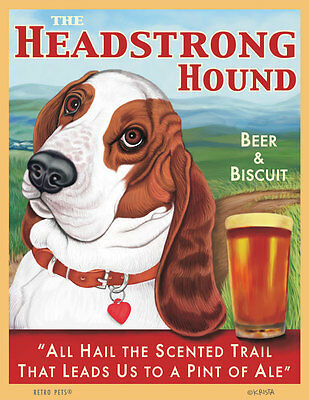 Basset Hound - Headstrong Hound - Red & White - Scenic - 8x10 Art Print - Fun!!!
