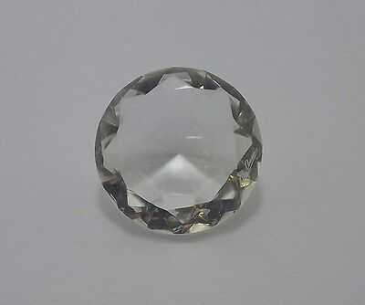 Large Faceted Round Crystal Diamond-Cut Clear & Collectible Paperweight