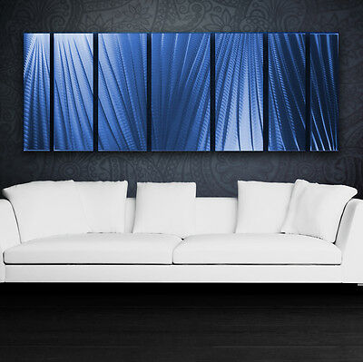 Large Metal Wall Art Panels Modern Abstract Blue Painting Sculpture Home Decor
