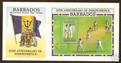 BARBADOS 1991 CRICKET Independence Souvenir Sheet OFFICIAL FDC