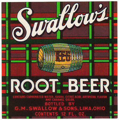 Old soda pop bottle label SWALLOWS ROOT BEER Lima Ohio new old stock n-mint+