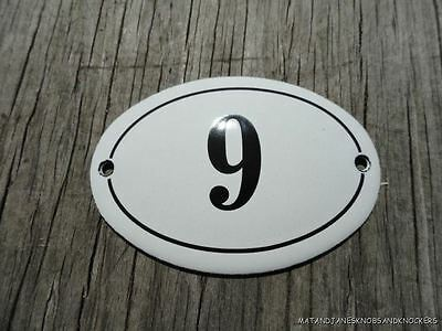 Small Antique Style Enamel Door Number 9 Sign Plaque House Number Furnituresign