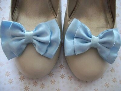 NEW PAIR PASTEL BLUE SATIN BOW SHOE CLIPS 40s 50s VINTAGE STYLE GLAMOUR HANDMADE