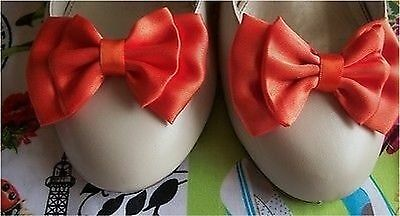 NEW PAIR ORANGE SATIN DOUBLE BOW SHOE CLIPS VINTAGE STYLE GLAMOUR BOWS 40's 50's