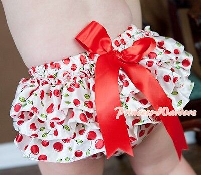 Cherry Print Red White Bloomers Pantie with Various Bows For Pettiskirt 6m-3Year