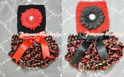 Newborn Baby Red Black Cherry Bloomer with Optional Crochet Tube Top 2PC NB-2Y