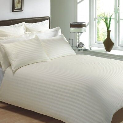 "Egyptian Cotton 400 Thread Classic Stripe Cream Super King 12"" Deep Fitted Sheet"