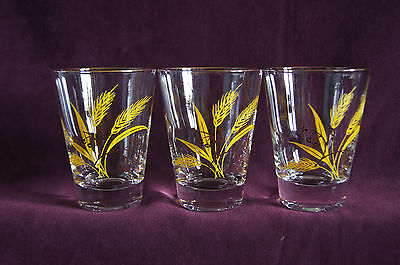 3 Autumn Gold wheat  old fashioned glass tumblers Century Service Homer Laughlin
