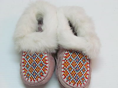 Native American Beaded Moccasins Plush Lined,rabbit Fur,  For Kids! 7 Inches