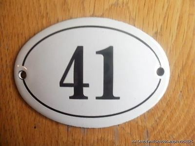Small Antique Style Enamel Door Number 41 Sign Plaque House Number Furnituresign