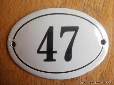 Small Antique Style Enamel Door Number 47 Sign Plaque House Number Furnituresign