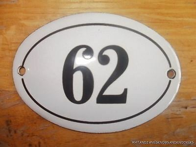 Small Antique Style Enamel Door Number 62 Sign Plaque House Number Furnituresign