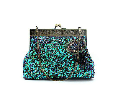 New Peacock Feather Pattern Style Beaded Sequin Evening Bag handbag Rose blue