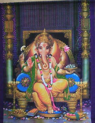 LARGE Colorful Silk Screen Scroll from Thailand for Religious Practice - Ganesh